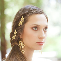 Gold Leaf Bridal Bobby Pins Bridal Hair Pins Bridal Hair Clips Rustic Woodland Wedding Bridal Hair Accessories Bridesmaids Hair Accessories