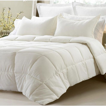 3pc Reversible Solid/ Emboss Striped Comforter Set- Oversized and Overfilled - Ivory