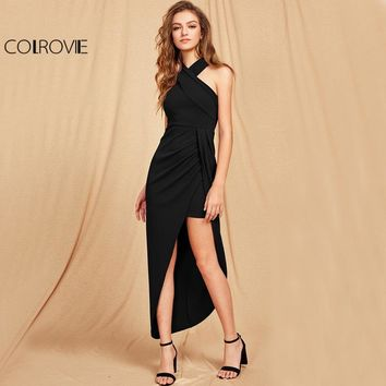 COLROVIE Cross Halter Maxi Party Dress 2017 Black Slim Women Asymmetrical Ruched Fall Dress Elegant Wrap Sexy Bodycon Dress