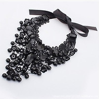 Elegant Black Lace Statement Bib Necklace