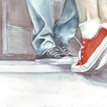 Original watercolor painting two lovers man boy woman girl kissing in converse all sta