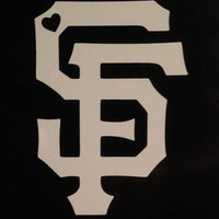 San Francisco Giants SF logo with Heart Vinyl Decal - Large