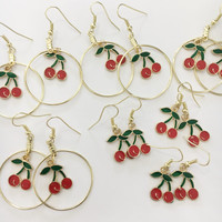 Gold Cherry hoop earrings