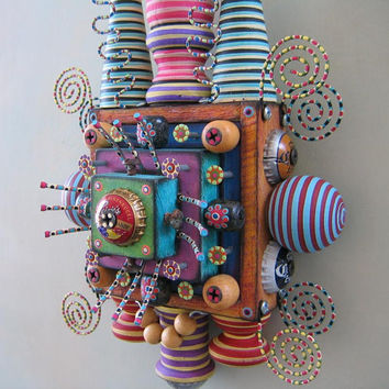 Wall Bling, Original Found Object Sculpture, Wall Art, by Fig Jam Studio