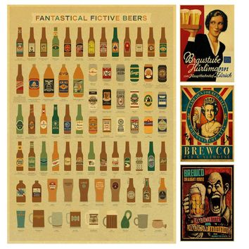 Funny Beer Wine collection bars kitchen drawings posters Kraft Paper retro Poster wall stickers decoration