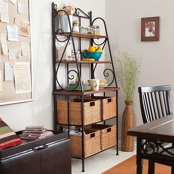 Durable Metal & Wood Bakers Rack with Classic Wicker Basket Storage