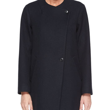 Venizka Camden Asymmetric Wool-Blend Twill Coat, Size:
