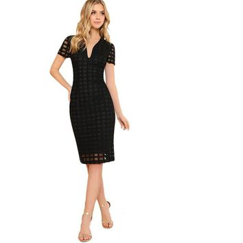 Black Square Cut Overlay Lace Dress