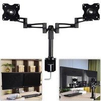 """Goplus Dual LCD Monitor Arms Fully Adjustable Desk Mount Stand 2 Screen upto 25"""""""