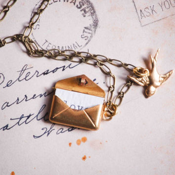 LOVE Letter Golden Envelope Locket LOVE Note Golden Bird Vintage Style Message