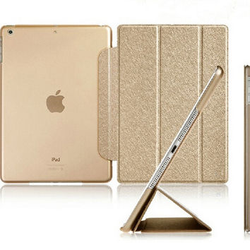 Luxury Stand Leather Case For iPad mini 1 2 3 4 Retina Silk Slim Clear Transparent Smart Back Cover for Apple iPad Mini 4 3