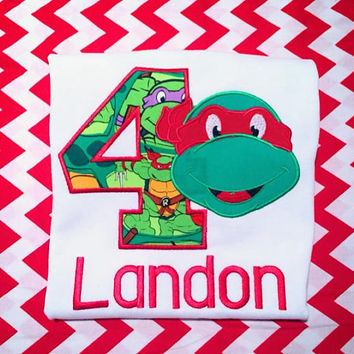 Ninja Turtle Birthday Shirt TMNT applique Birthday Shirt Boy Birthday Shirt