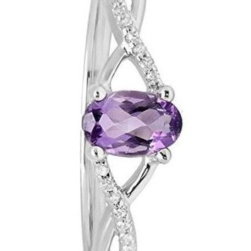 CERTIFIED 0.36 ctw 10K White Gold Amethyst & White Diamond Swirl Engagement Ring