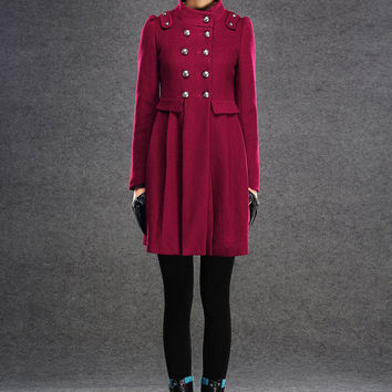Red coat double breasted wool Coat (037)