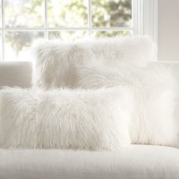 MONGOLIAN FAUX FUR PILLOW COVER - IVORY