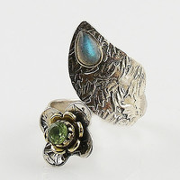 Labradorite & Peridot Adjustable Two Tone Sterling Silver Leaf Wrap Ring