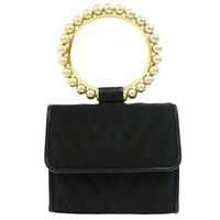 Chanel Black Small Gold Charm Pearl Top Handle Satchel Evening Flap Bag In Box