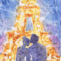 Paris, art, watercolor painting, night, couple , love, firework, eiffel tower, romantic, print, Illustration, wedding gift, valrart