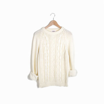 Vintage Cable Knit Fisherman Sweater in Cream - men's small