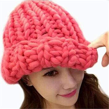 Women Winter Warm Hat Handmade Knitted Coarse Lines Cable Hats Knit Cap Candy Color Beanie Crochet Caps Women Accessories M056