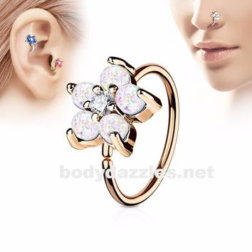 Golden  Opal White Glitter Set Flower Petals CZ Center 316L Surgical Steel Hoop Ring for Nose Ear Cartilage Daith Rook
