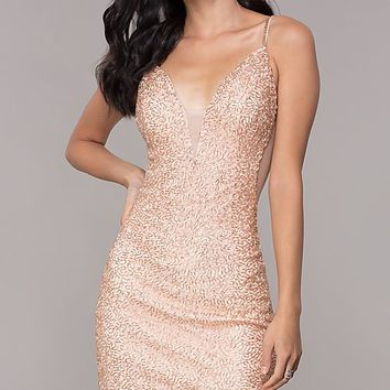Short Beaded V-Neck Homecoming Dress