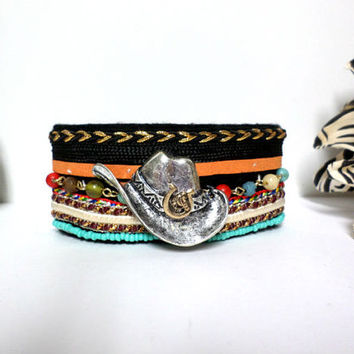 Boho black suede silver & gold western cowboy hat beaded woven tribal aztec design cuff bracelet, gift