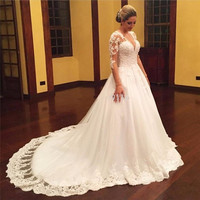 Wedding Dress Plus Size 2017 Appliques Long Sleeve Tulle Puffy Princess Lace Bridal Gowns Vestido Noiva Robe De Bal Dresses