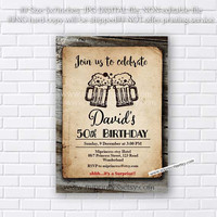 Birthday Invitation for any age, vintage wood design BEERS 30th 40th 50th 60th 70th retro rustic birthday invitation - card 387