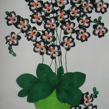 Quilling art 3D wall art picture Black Orchid Quilling handmade Paper flowers Wall decor Original wall art Paper quilling