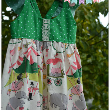 Hummingbird Dress:  Life's a Circus; vintage circus fabric; Back to School Dress