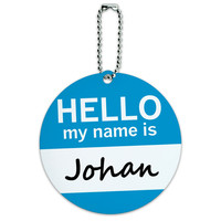 Johan Hello My Name Is Round ID Card Luggage Tag