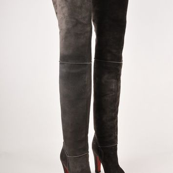 HCXX Grey Suede Over the Knee Boots