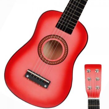 "23"" Pink Childrens Kids Acoustic Guitar & Pick & Strings Toy"
