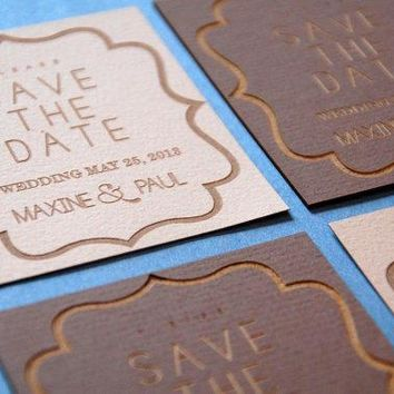 Save The Date Laser Engraved Recycled Cards   Set Of 50: Customizable For Any Event
