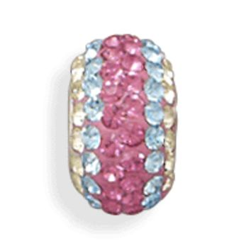 Pink, Blue and Yellow Crystal Bead