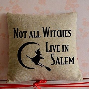 Halloween Pillow Covers Decorative-not all witch live in salem Zippered Cushion Covers 18 x 18 inches