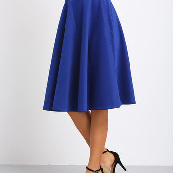 Blue High Waist Flare Long Skirt