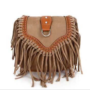 2016 Fashion Small Tassel Bag Women Bags Ladies Casual PU Leather Fringe Saddle Crossbody Messenger Shoulder Bag Bolsa Feminina