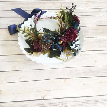 Burgundy flower crown, fern bridal crown - Woodland Berry Crown