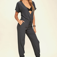 Sassy Lady Charcoal Grey Jumpsuit
