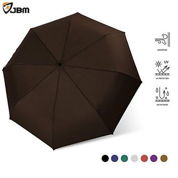 Windproof Travel Umbrella Automatic Open Close Sun Rain UV Protection Lightweight Portable with Comfort Handle Extra Large Double Layer Umbrella for Golf and Outdoor Use (Brown)