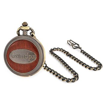 Grandpa Grandfather Faux Wood Pocket Watch Bronze Tone Plated Alloy