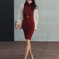 Turtleneck Long Sleeve Midi Bodycon Dress