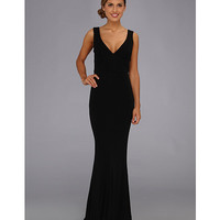 ABS Allen Schwartz Sleeveless Deep V-Neck Gown