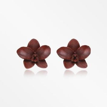 A Pair of Divine Brown Orchid Handcarved Wood Earring Stud
