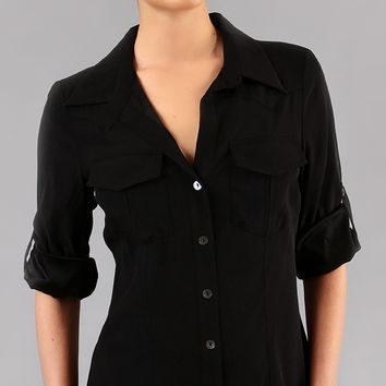 Washed Silk Button Down Shirt