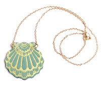 fan clam pendant . reversible lilac/green | rosita bonita