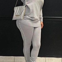 Grey Round Neck Pearl Embellished  Two-Piece Pants Set