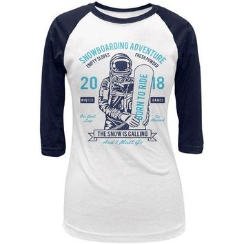 PEAPGQ9 Winter Games Snowboarding Adventure Born to Ride Juniors 3/4 Raglan T Shirt